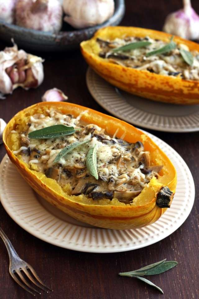 Roasted Spaghetti Squash with Mushrooms Served in Two Plates with Two Forks