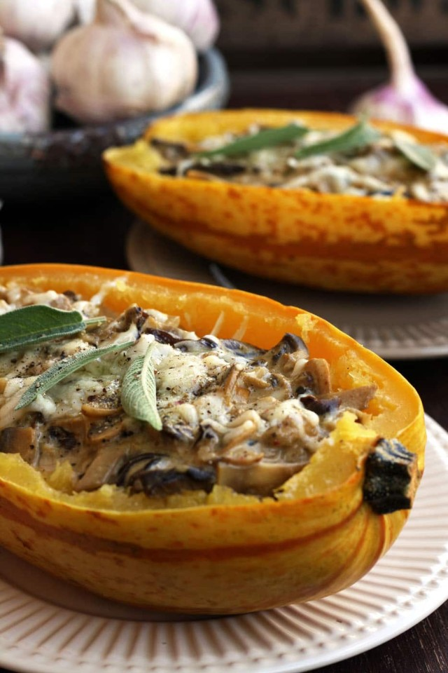 Roasted Spaghetti Squash with Mushrooms - Beautiful Dish Ready for the Healthy Dinner