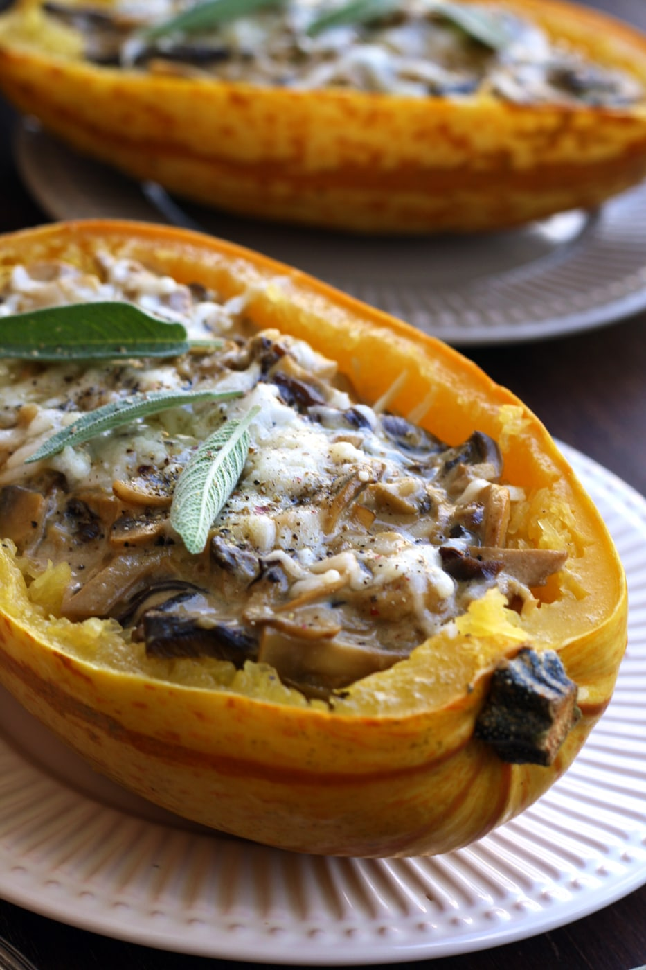 Roasted Spaghetti Squash with Mushrooms Delicious Closeup