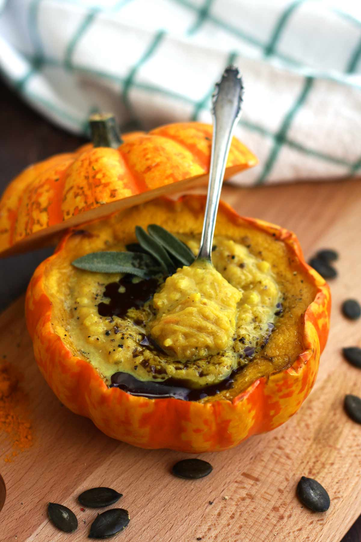 easy pumpkin soup with millet in pumpkin bowls u2022 happy kitchen rocks