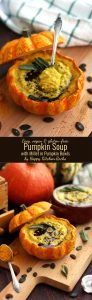 Easy Pumpkin Soup with Millet in Pumpkin Bowls Super Long Collage of Two Images and Text Overlay
