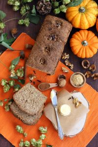 Healthy Pumpkin Bread with Walnuts - Beautiful Overhead Revealing All the Ingredients on the Table.