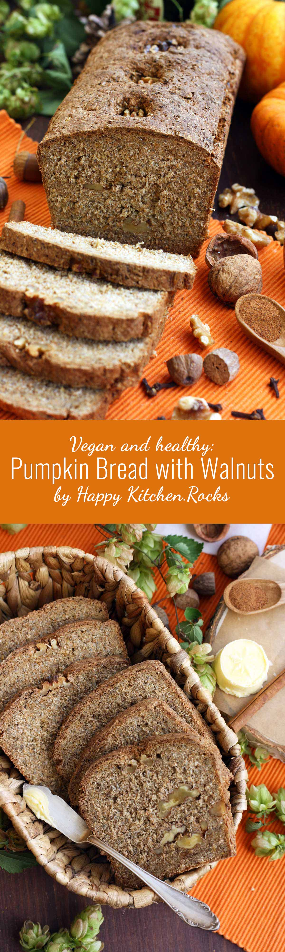 Healthy Pumpkin Bread with Walnuts - Super Long Collage of Two Images and Text Overlay