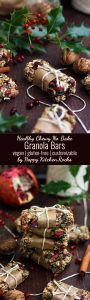 Healthy Chewy No Bake Granola Bars Recipe: The only recipe for granola bars you'll ever need. Easy, delicious and customizable portable snack or breakfast treat packed with nutrients and flavor! It makes a great homemade Christmas gift as well!