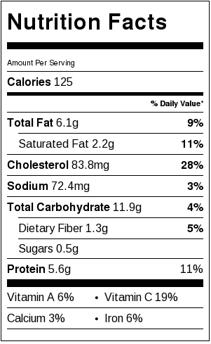 Nutrition facts sticker with all the nutrition values listed one after another