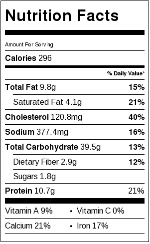 Healthier Brioche French Toast Nutrition Facts Card