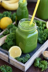 Delicious Kale Smoothie on a Tray Ready to Be Served