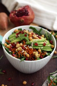 Healthy Sweet Potato Noodle Salad with Chickpeas and Rocket - Vegan Healthy Lunch Dish