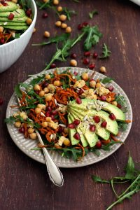 Healthy Sweet Potato Noodle Salad with Chickpeas and Rocket - Sharp and Clean Shot of the Dish on the Brown Table