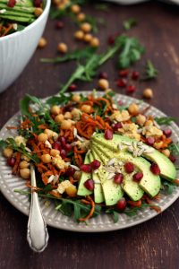 Healthy Sweet Potato Noodle Salad with Chickpeas and Rocket - with a Fork in the Plate and Ingredients on the Table