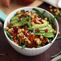 Healthy Sweet Potato Noodle Salad with Chickpeas and Rocket - Vegan Healthy Side Dish