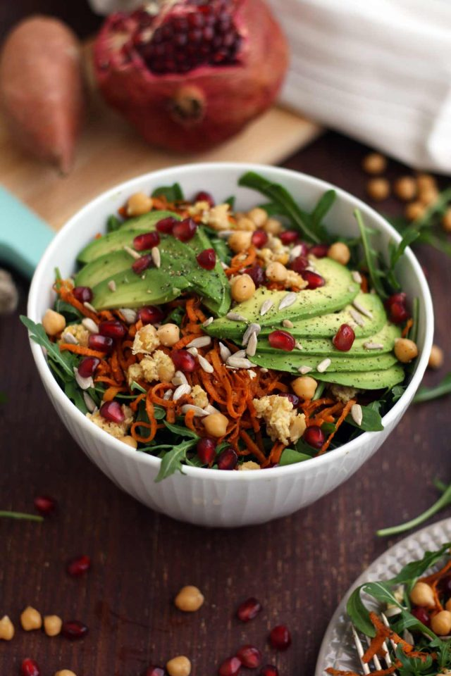 Healthy Sweet Potato Noodle Salad with Chickpeas and Rocket