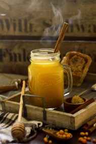 Magic Sea Buckthorn Tea with Honey and Cinnamon - Hot and Delicious Served in a Tray