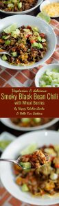 Vegetarian Smoky Black Bean Chili with Wheat Berries recipe. Easy, delicious, hearty and thick black bean chili recipe perfect for the cold season!