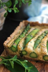The Best Vegan Quiche Ever - Focus ont he Side of the Quiche with Lots of Greens