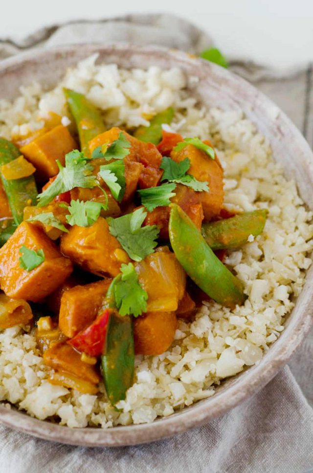 Vegetarian red curry stir fry