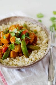 Easy and wholesome Vegetarian Red Curry Stir Fry makes for a nutritious weeknight dinner ready in just 30 minutes! It's also vegan, gluten free and paleo, not to mention flavorful and easy to make! @elenaszeliga from @happykitchen.rocks