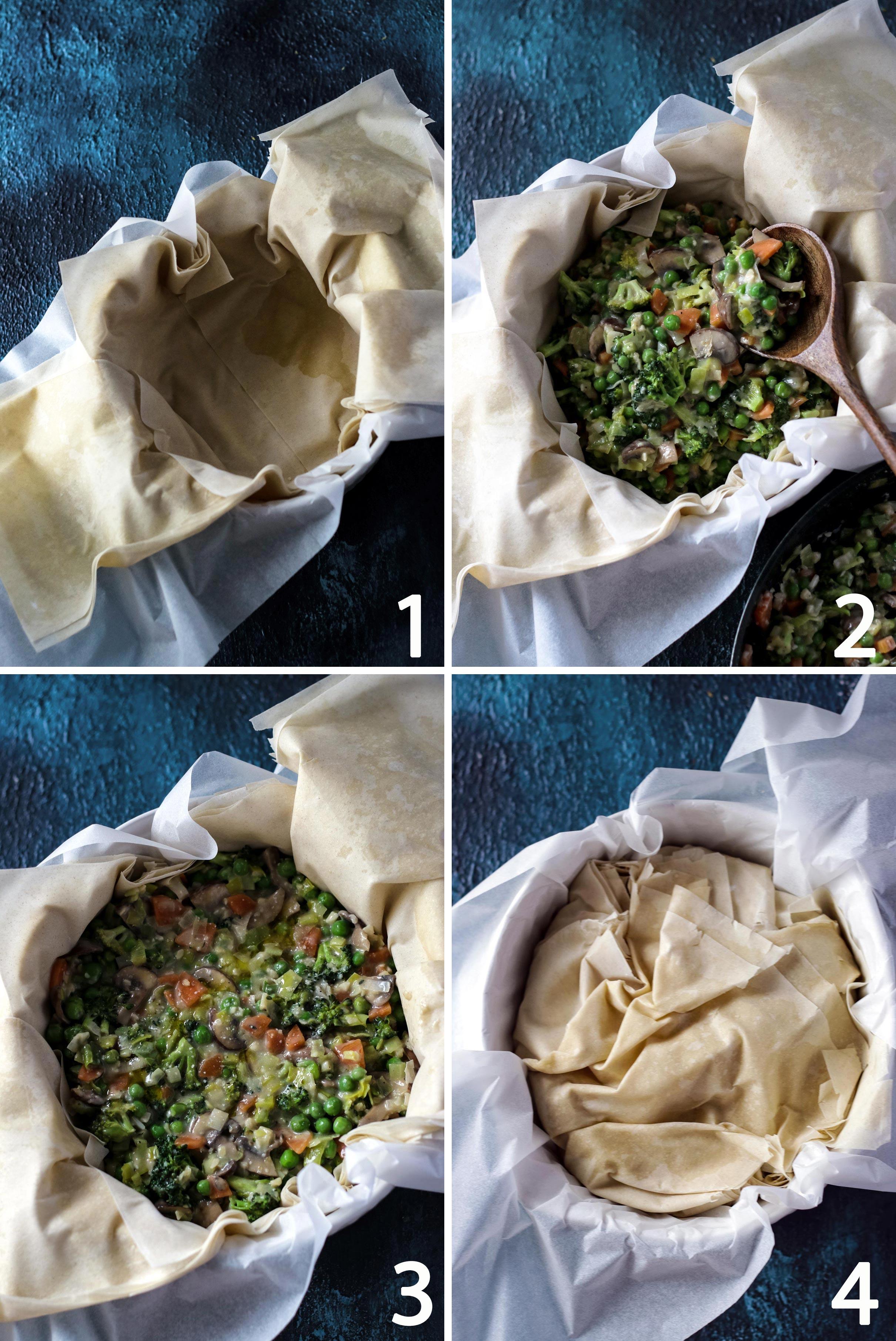 Process Shot on how to assemble Vegan Pot Pie.