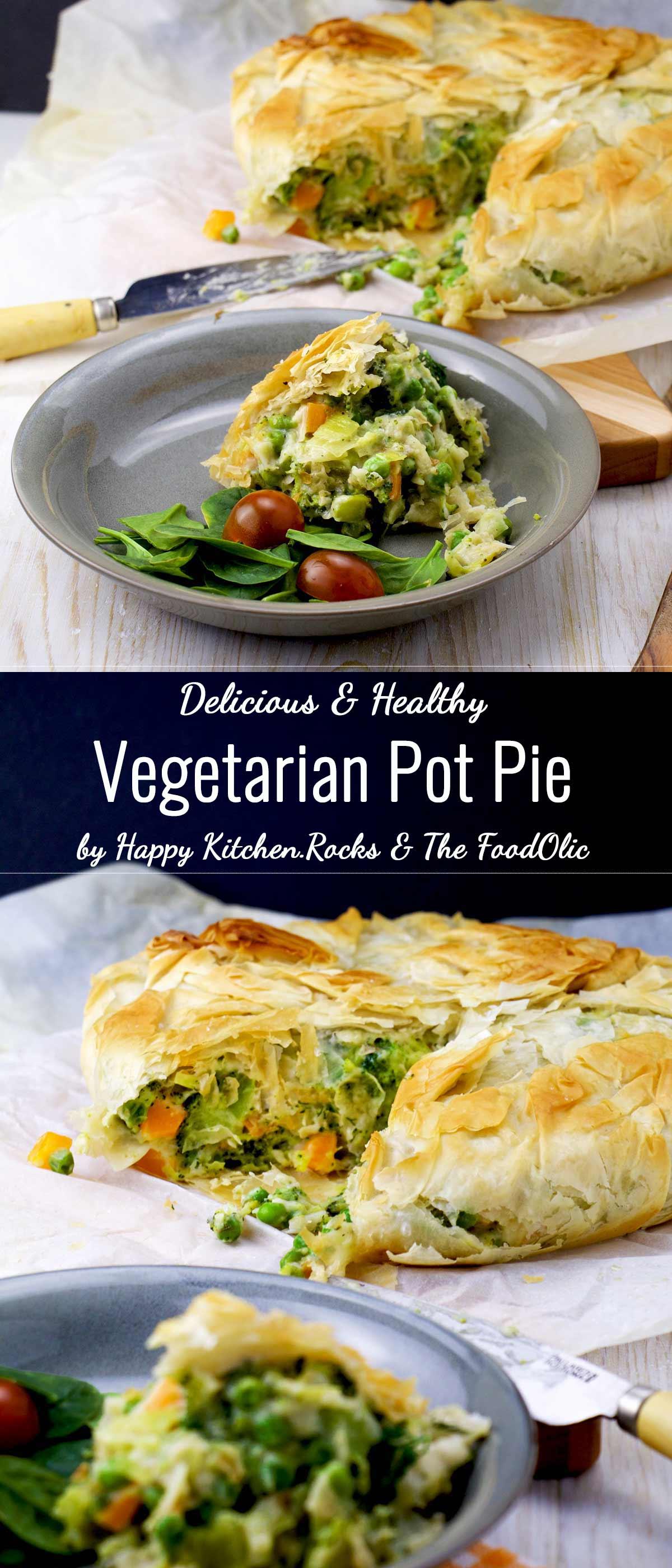 Healthy Vegetarian Pot Pie Super Long Vertical Image