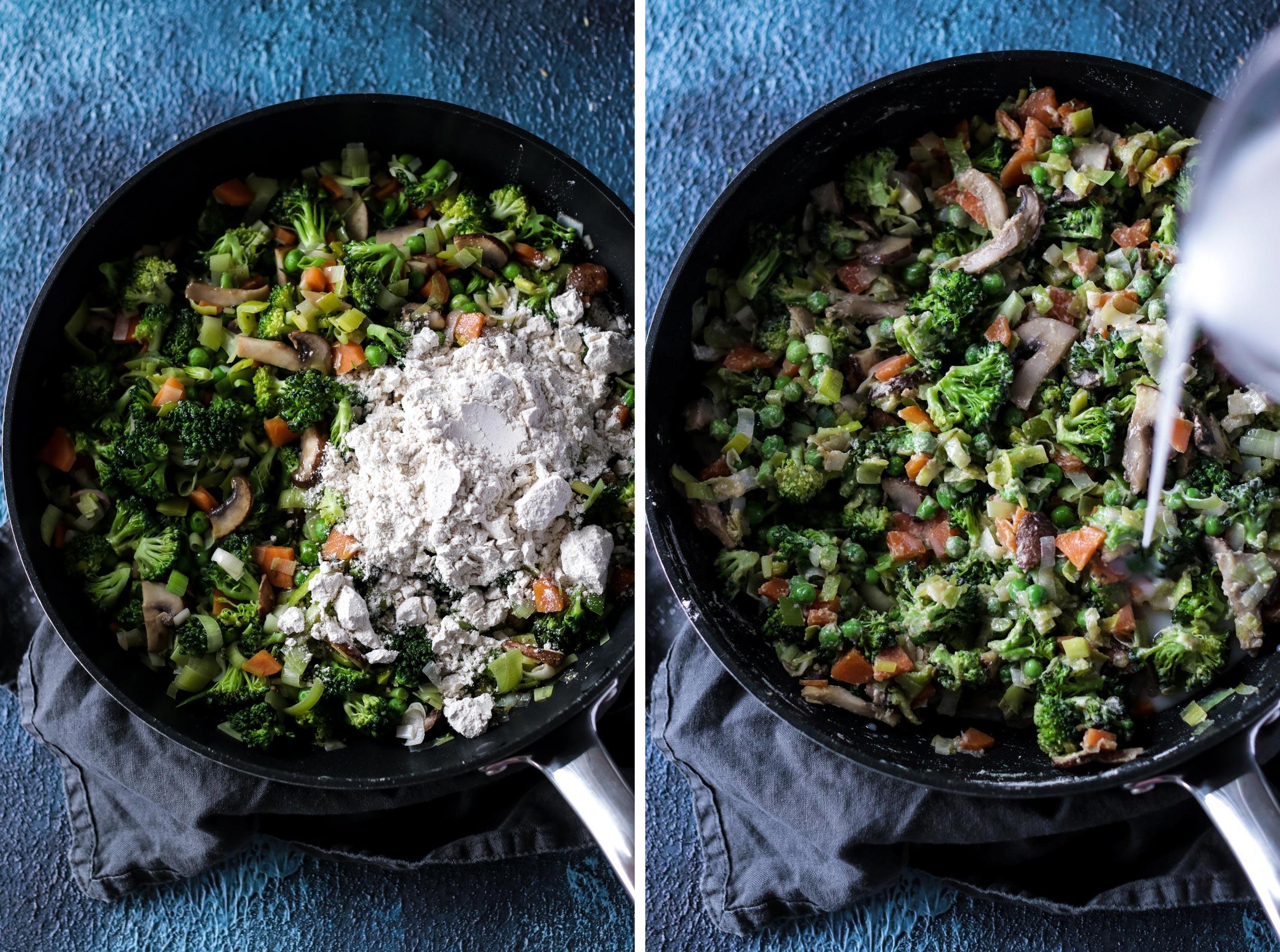 Process shot on how to make vegan bechamel sauce.