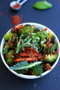 Simple Vegan Quinoa Fried Rice Overhead Shot with Beautiful Blueish Background