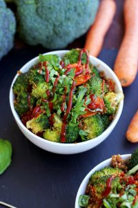 Simple Vegan Quinoa Fried Rice with Carrots and Broccoli at the Side