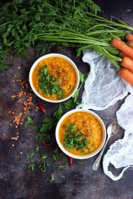 Vegan Roasted Carrot Soup with Lentils - Beautiful Overhead with the Dish and All Ingredients