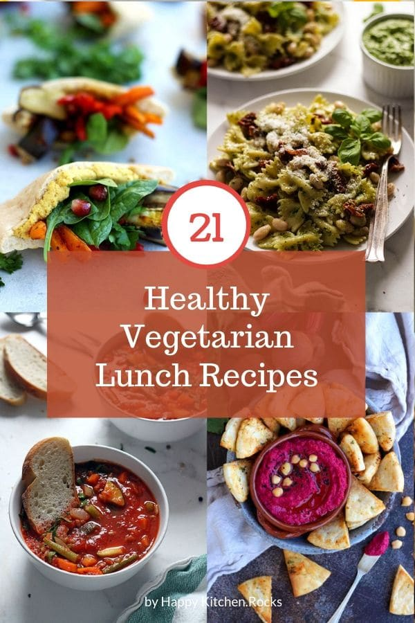 Healthy Vegetarian Lunch Box Ideas Collage of Four Images with Text Overlay