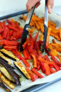 Pita Pockets with Roasted Veggies and Hummus - Preparing the Roasted Vegetables on a Tray