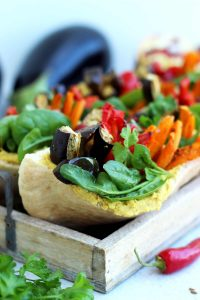 Pita Pockets with Roasted Veggies and Hummus Recipe: Healthy and delicious lunch meal you will look forward to. These vegan rainbow pita pockets are very easy and quick to make and can be eaten warm or cold.