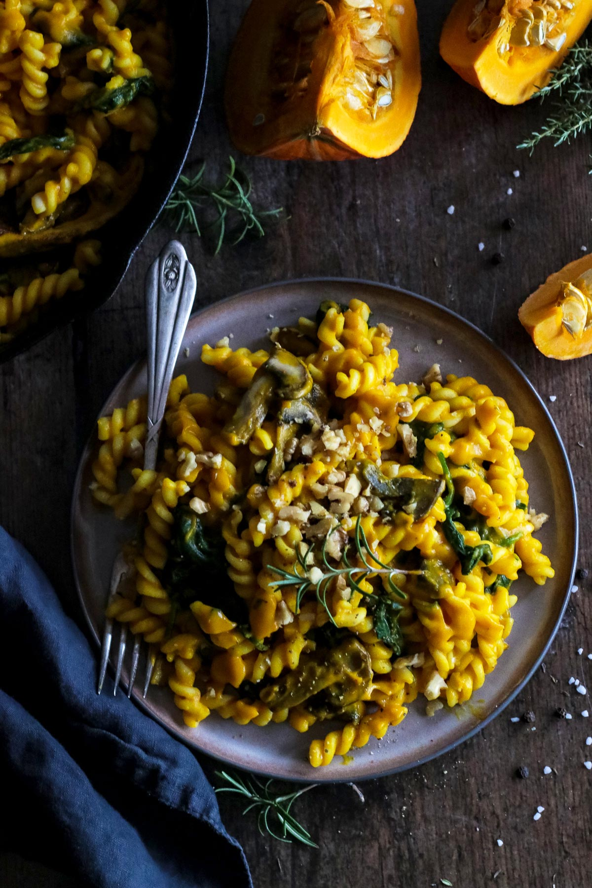 A Serving of Pumpkin Pasta with Mushrooms.