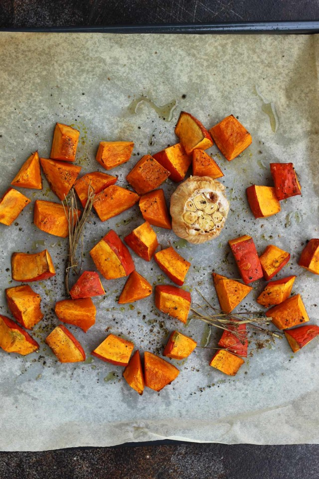 Roasted Pumpkin and Garlic on a Baking Dish