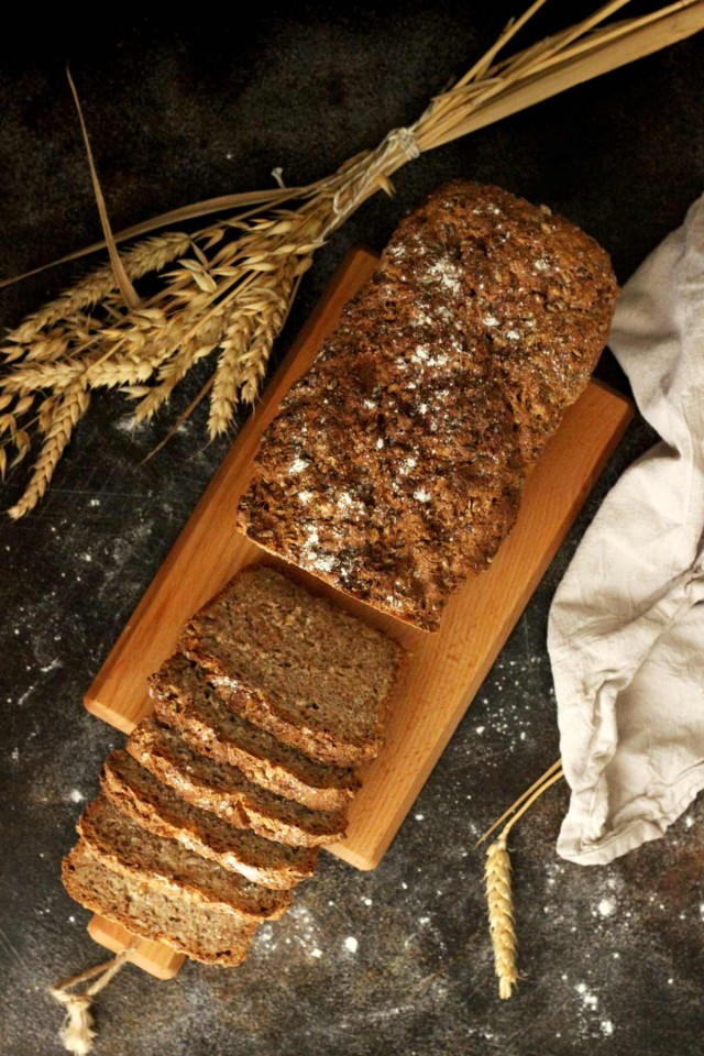 Healthy Wholemeal Bread Loaf Cut in Slices Flatlay