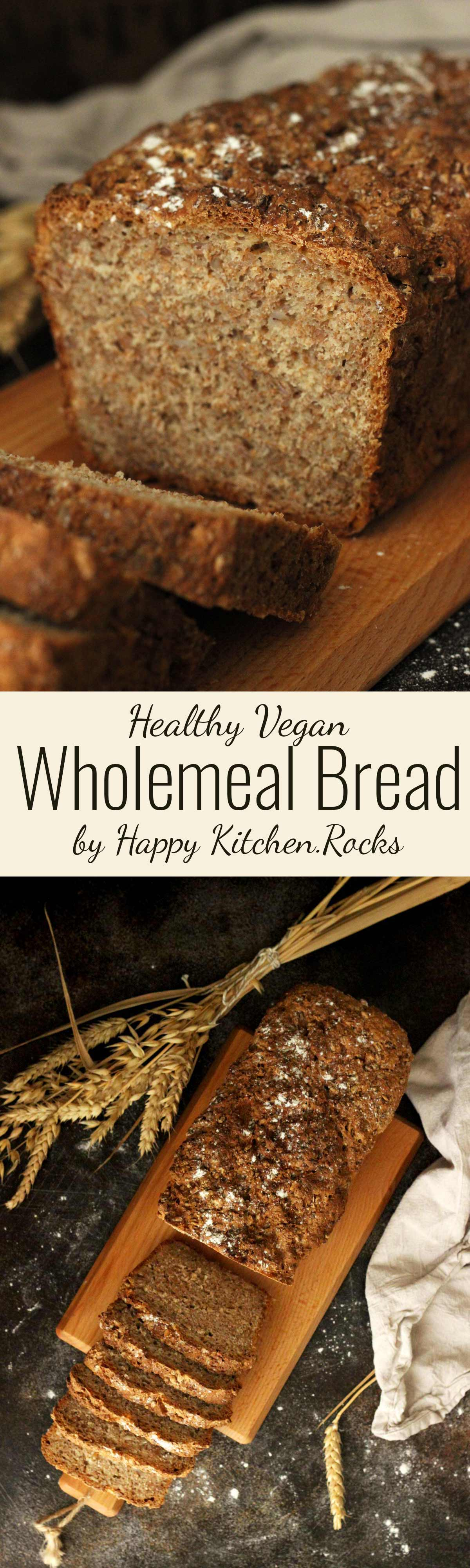 Healthy Wholemeal Bread Super Long Collage with Text Overlay