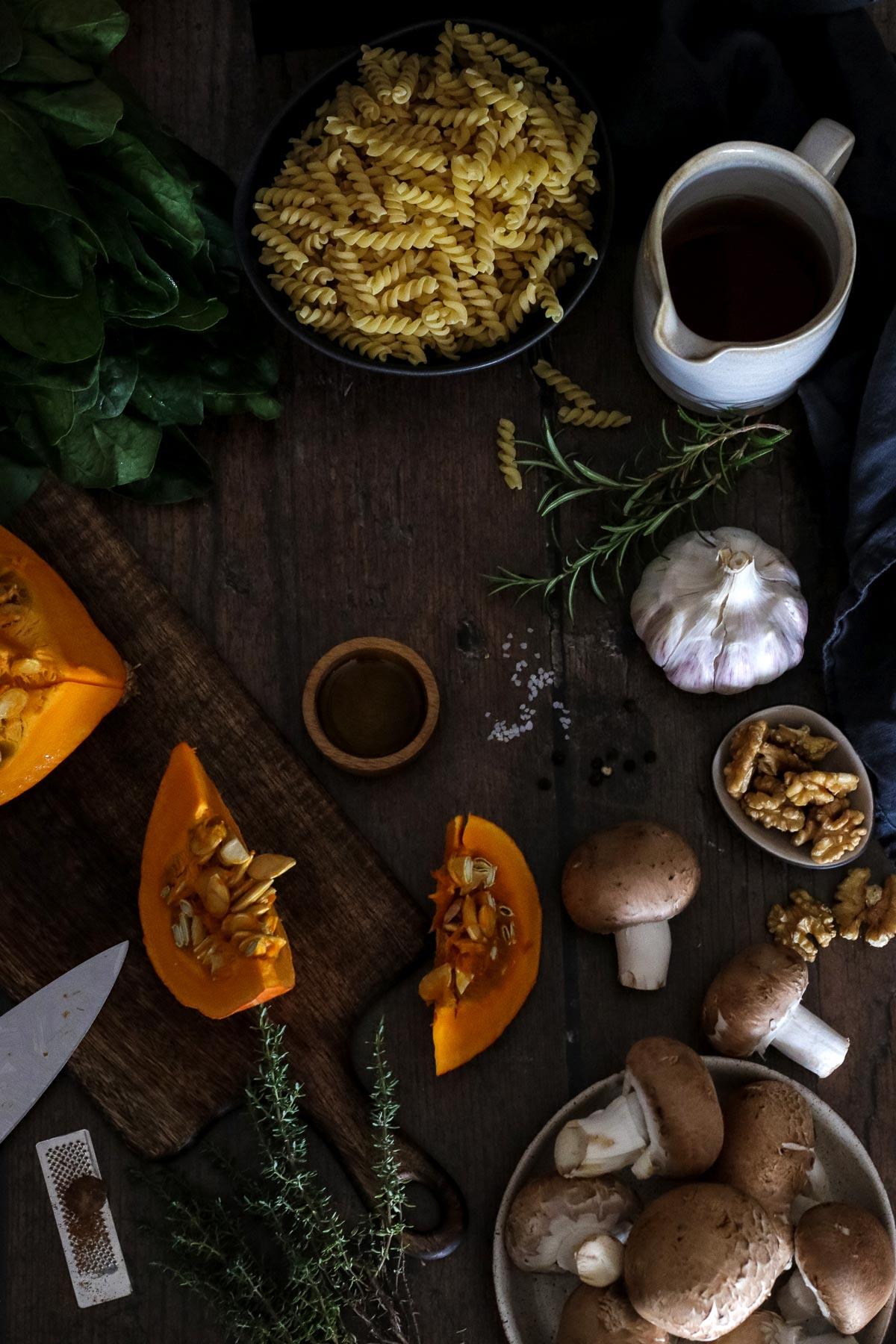 Ingredients for Pumpkin Pasta.
