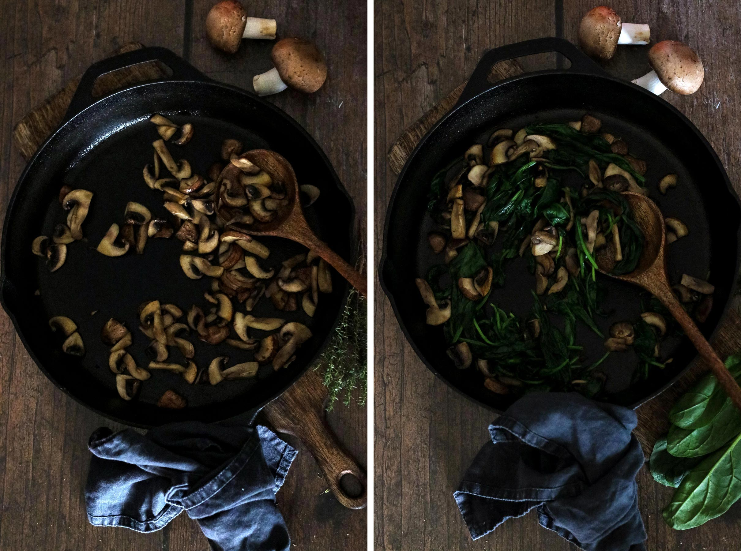 Mushrooms and Mushrooms with Spinach in a Skillet.