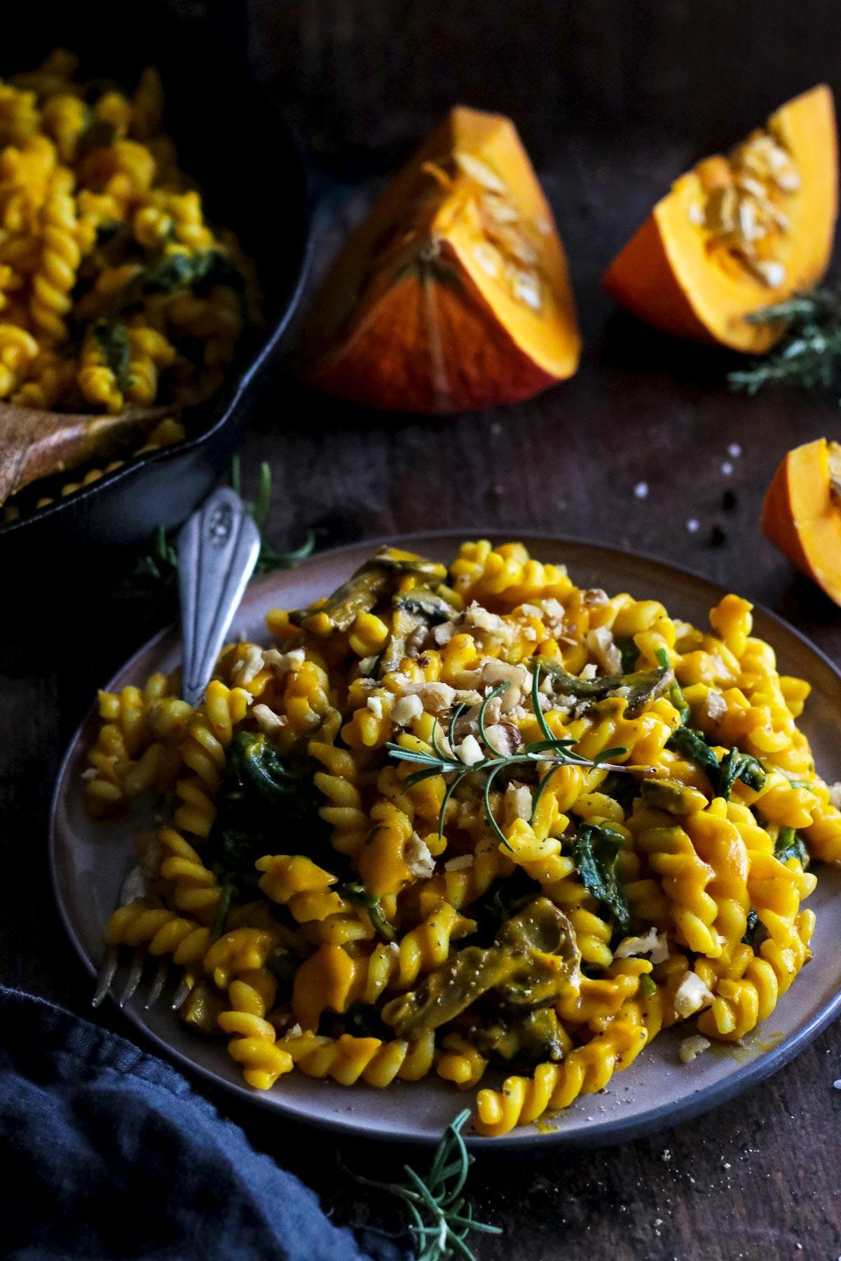 Vegan Pumpkin Pasta on a Plate.