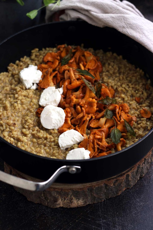 Easy Barley Risotto with Mushroom and Goat Cheese Risootto - in a Skillet Ready for Cooking