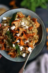Easy Barley Risotto with Mushrooms and Goat Cheese