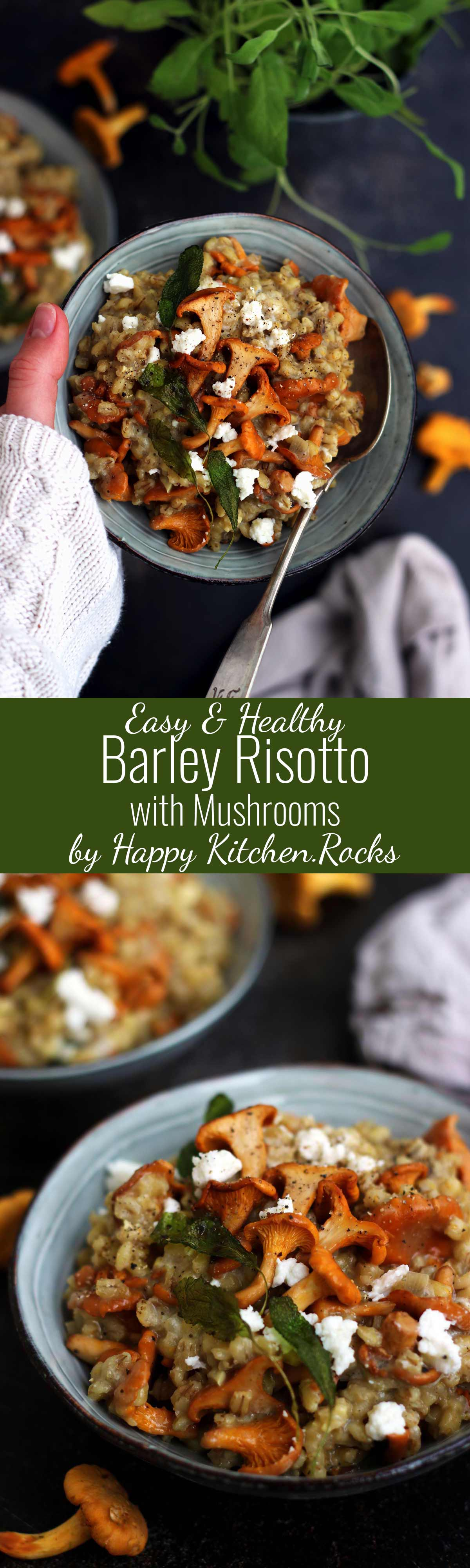 Easy Barley Risotto with Mushroom and Goat Cheese Super Long Collage with Two Images and Text Overlay