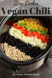 Ingredients for Vegan Chili in a Slow Cooker Pinterest