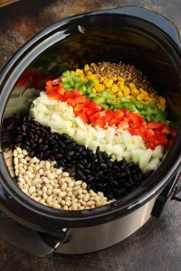 Slow Cooker Chili Ingredients in a Slow Cooker
