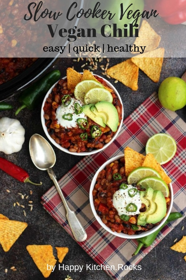The Best Slow Cooker Vegan Chili Recipe is wholesome, delicious and easy to make. Comforting and healthy freezable dinner packed with nutrients and flavors! #chili #veganrecipes #veganchili #comfortfood #slowcooker