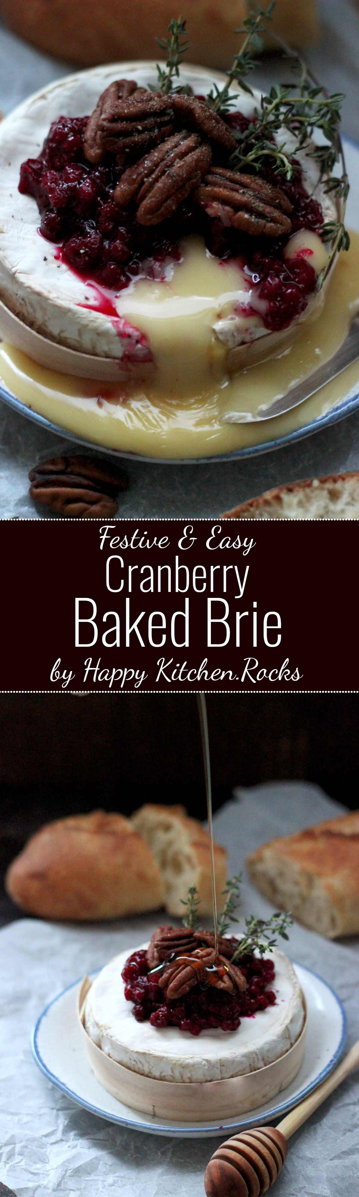 Easy Cranberry Baked Brie with Thyme Super Long Image for Pinterest