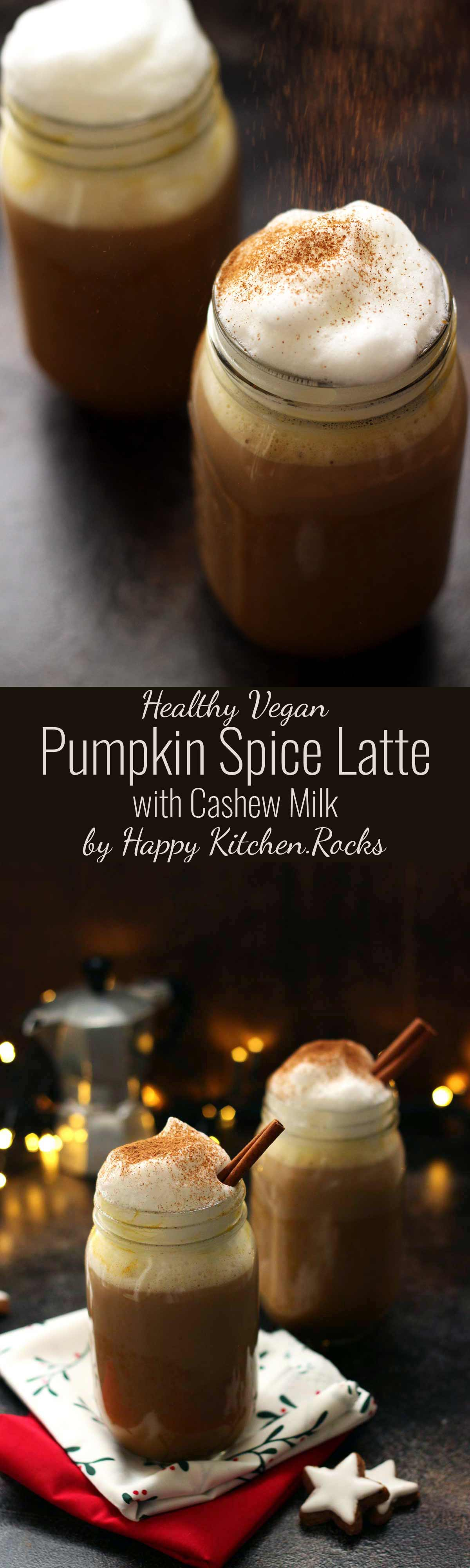 Healthy Vegan Pumpkin Spice Latte Collage of Two Recipe Images
