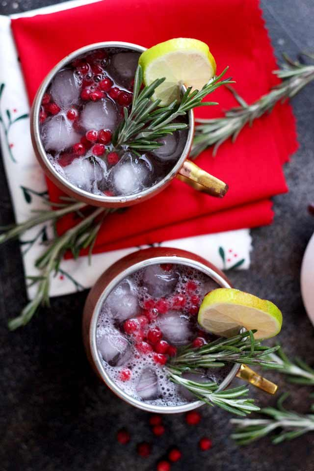 Cranberry Moscow Mule - Overhead with Holiday Decorations