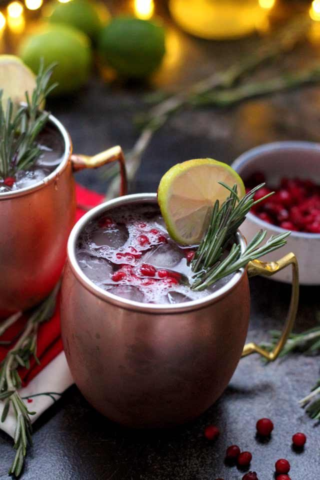 Cranberry Moscow Mule - Holiday Drink Closeup