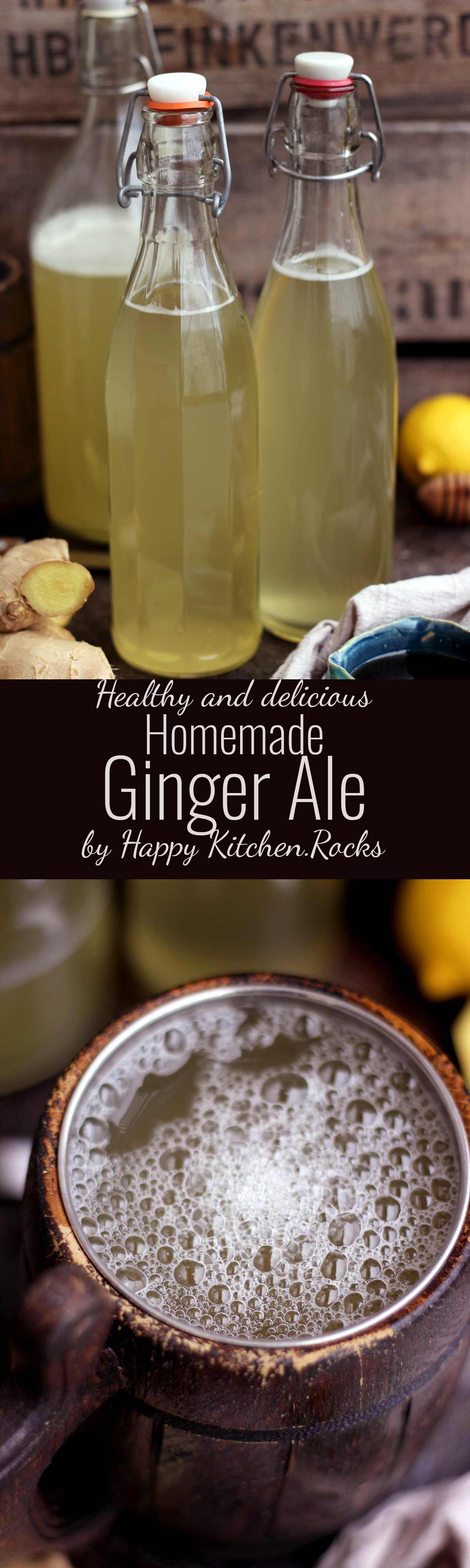 Easy Homemade Ginger Beer - Super Long Collage with Text Overlay