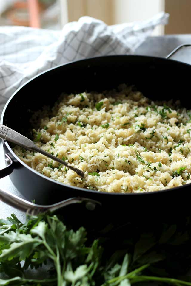 How to Make Cauliflower Rice in a Skillet with a Spoon