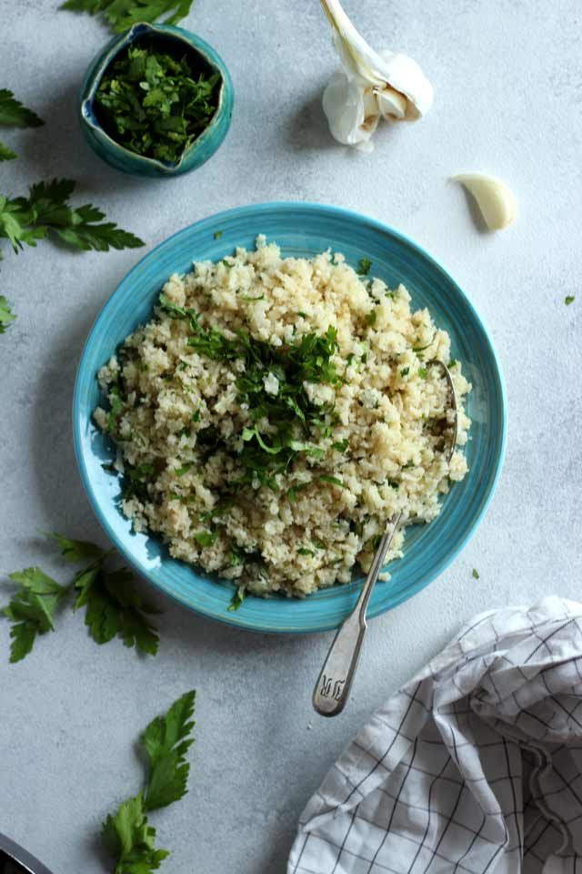 Rice on a Blue Plate with Parsley and Garlic